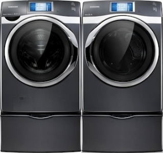Samsung's 457 front-load laundry pair in Onyx